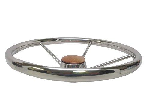 Pactrade Marine Boat Stainless Steel Five Spoke Steering Wheel with Bakelite Cap, 13.75'' L by Pactrade Marine (Image #1)