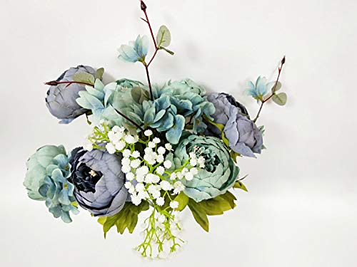 - Artificial Fake Flowers Vintage Bouquets Silk Peony Flower for Wedding Home Decoration,Pack of 1(New Gray Blue)