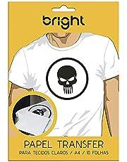 Bright 0121, Papel Transfer para Tecidos Claros, Branco, 10 Folhas