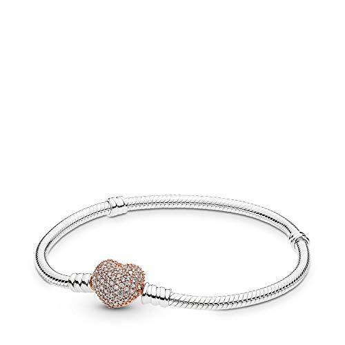 PANDORA Sterling Silver Bracelet, Rose Pavé Heart Clasp, 21 cm / 8.3 in