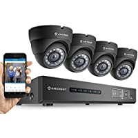 Amcrest HD 720P 4CH Video Security System - Four 1.0-Megapixel Weatherproof IP67 Dome Cameras, 65ft IR LED Night Vision, 1TB HDD, HD Over Analog/BNC, Smartphone View (Black) (Certified Refurbished)