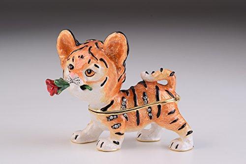 Cat with Flower Trinket Box Decorated with Swarovski Crys...