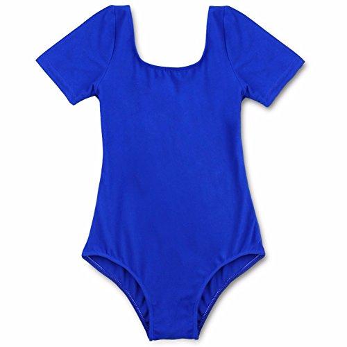 Dark Ballet Costumes (iEFiEL Kids Girls Short Sleeve Classic Basic Gymnastic Ballet Leotard Dance Costume Top Dark Blue 6)