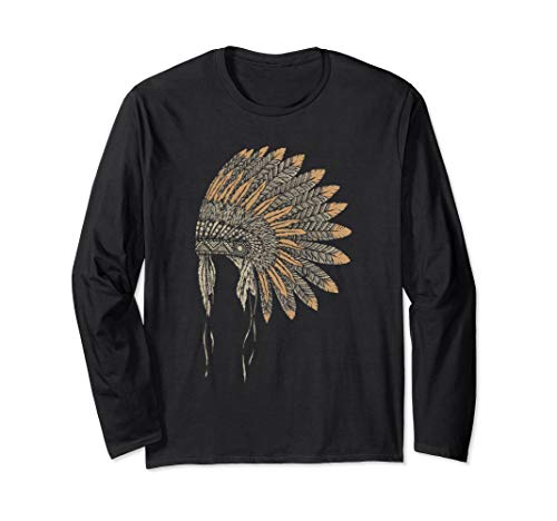 Native American Headdress Inspired Long Sleeve T-Shirt]()