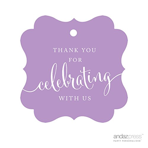 (Andaz Press Fancy Frame Gift Tags, Thank You For Celebrating With Us, Lavender, 24-Pack, For Baby Bridal Wedding Shower, Kids 1st Sweet 16 Quinceanera Birthdays, Anniversary, Graduation, Baptism, Christening, Confirmation, Communion Party Favors, Gifts, Boxes, Bags, Treats and Presents)