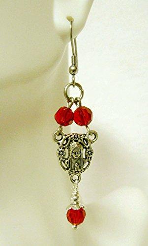 Rosary center red crystal earrings - E1030-308 -
