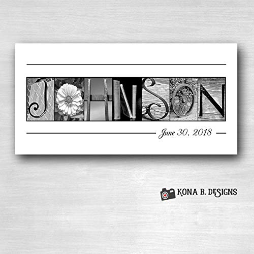 Personalized wedding gifts, Wedding Name Sign, Family Name Established Sign, Personalized Alphabet Photography, Custom Name Sign, Closing gifts, Choose Framed or Unframed 10x20 ()