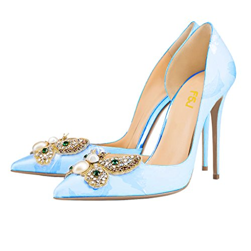 Zapatos De Boda Clásicos De Las Mujeres De Fsj Rhinestone En Punta Del Dedo Del Pie Bombas De Tacón Alto De Los Talones De Dofsay Tamaño 4-15 Us Azul Claro