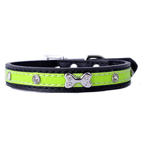 Black,2×28-36cm Pet Online Pet Collar Rhinestone Bone pu Leather Alloy Buckle Dog Collar,Black,2×28-36cm