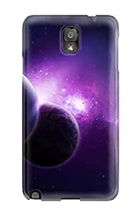Rugged Skin Case Cover For Galaxy Note 3- Eco-friendly Packaging(purple Universe)