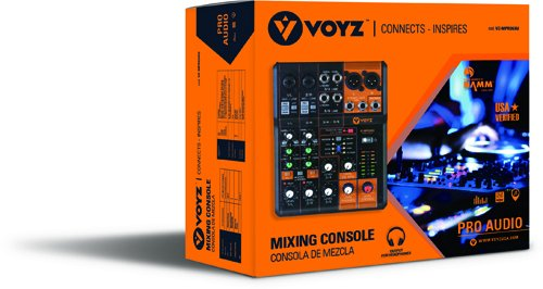 VOYZ Professional 6 Channels Audio Mixing Console Ultra Slim with Phantom Power, Effects and Equalizer (VZ-MPRO6XU)