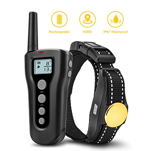 Bousnic Dog Training Collar 2018 Upgraded 300yds Remote Rechargeable Waterproof Electric Shock Collar with Beep Vibration Shock for Small Medium Large Dogs by Bousnic