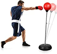Punching Bag with Stand Freestanding Boxing Bag, Dprodo Adjustable Speed Reflex Training Bag for Adults Kids P