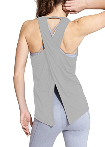 Mippo Womens Sexy Backless Workout Tops Open Back Muscle Shirts Soft Knit Sports Yoga Tank Tops Loose Knot Back Athletic Gym Clothes Gray M ()