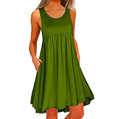 Muranba Womens Dresses O Neck Casual Lace Sleeveless Above Knee Dress Loose Party Mini Dress