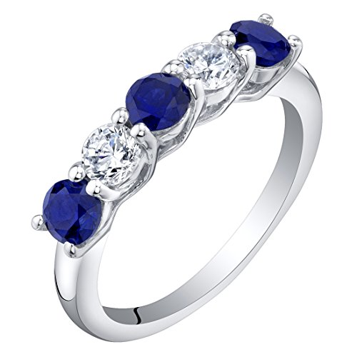 Sterling Silver Created Blue Sapphire Five-Stone Trellis Ring Band Size 6