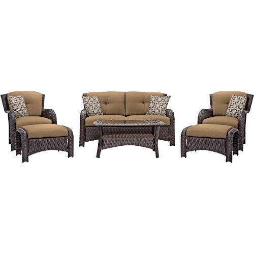 Cambridge COR6PC-TAN Corolla 6-Piece Lounge Set, Tan Corolla Pillow
