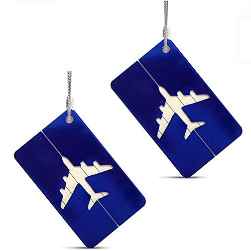 s Labels, Aluminum Metal Airplane Travel Suitcase Bag Baggage ID Name Address Tag Label with Screw Chain, Blue (Airplane Luggage Tag)