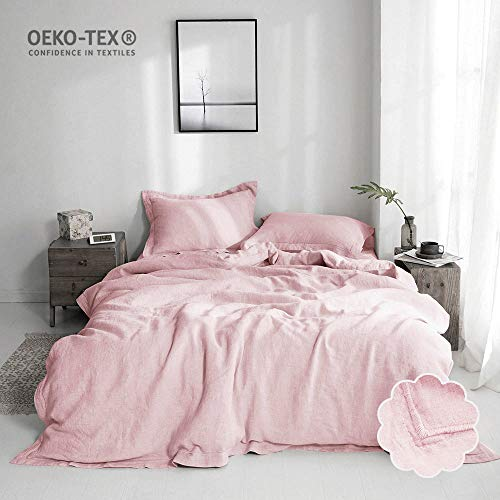 (Simple&Opulence 100% Stone Washed Linen Solid Embroidered King Duvet Cover)