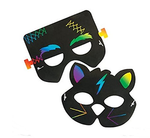 Fun Express ~ 24 pc - Paper Magic Color Scratch Halloween Masks - Halloween Crafts