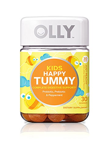 OLLY Kids Happy Tummy Gummy Supplements, Just Peachy, 30 Count