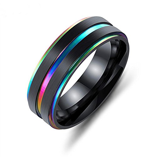 LiFashion LF 7mm Mens Wedding Engagement Ring Stainless Steel IP Black Plated Rainbow Groove Inlay High Polish Comfort Fit Finger Ring for Boyfriend Husband Gift,Size 8