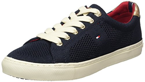 2c Blue Hilfiger Low Women's V1285ali Tommy Sneakers White snow top midnight 403 OwZq7ESAx0