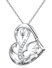 Mother's Day Gifts Sterling Silver I Love You Forever Swan Love Heart Pendant Necklace,18""