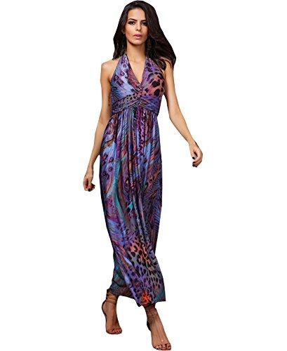 Smock Maxi (Shawhuaa Womens Summer Peacock Tail Print Halter V-Neck Smock Maxi Dress Purple)