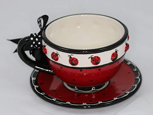 Ladybug Hand Painted Teacup and Saucer Set with Bow on Handle - by Tuweep