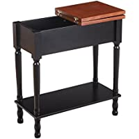 Adeco Adeco Home Living Room Bed Room Walnut-Wood-Color Top Flip Top Side / End Table, brown