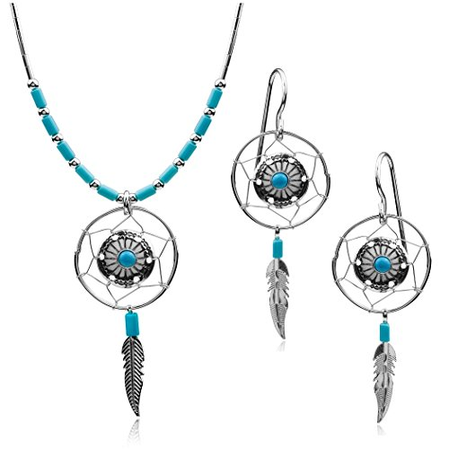 Ian and Valeri Co. Dream Catcher Sterling Silver Turquoise Imitation Earrings Pendant Necklace Set 18