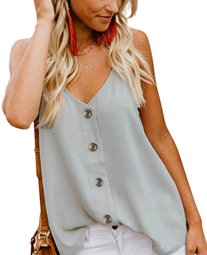 (Angerella Women's Casual Solid Tank Tops Spaghetti Strap Button Down V Neck Summer Sleeveless Blouses Shirts Light Grey,S)