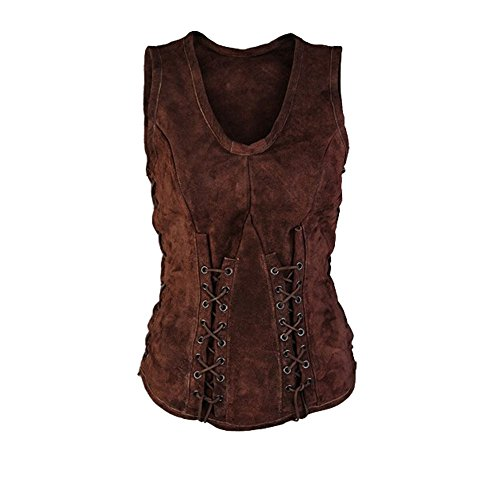 Karlywindow Men's Medieval Renaissance Suede Vest Sleeveless Unisex Tops Shirts -