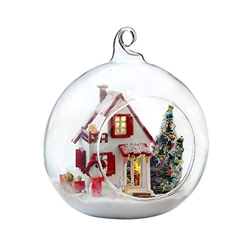 - Gbell  DIY Glass Ball House Miniature ,DIY Mini Dollhouse Modles with LED Light Creative Handmade Artwork Decorate Pretend Playhouse for Toddlers Girls