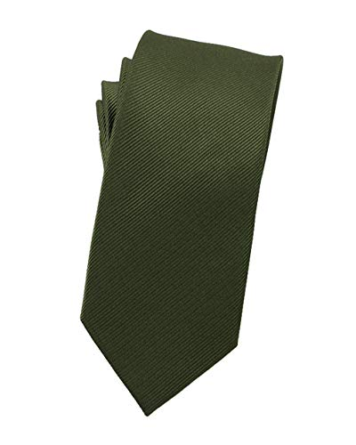 Levao Solid Color Skinny Ties - Multiple Colors Formal Neckties Olive Green 6cm (Green Olive Tie)