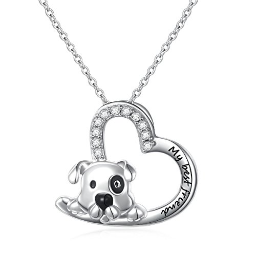 925 Sterling Silver Cute Animal Heart Pendant Necklace with Words Engraved, Chain 18 inch Women Girls Birthday Gift (My Best Friend)
