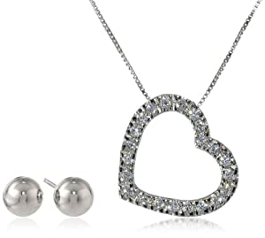 Sterling Silver Cubic Zirconia Heart Pendant Necklace and Ball Stud Earrings Jewelry Set by Max Mark Inc.
