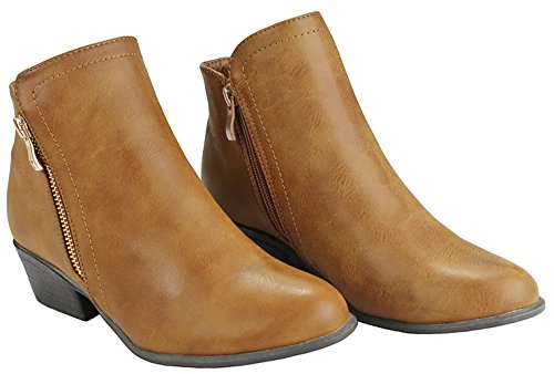 Boots Ankle 28 Faux Cut Decor Leather Back Slanted Side Chunky Out Tan Buckle Women Heels Zipper wOU7qZx