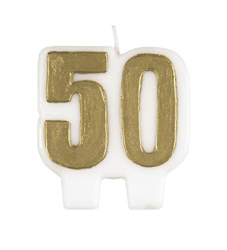 Gold Number 50 Birthday Candle