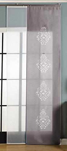 2er-Pack Schiebegardine Flächenvorhang Nantes Lasercut Wildseide Optik Voile , Grau, 245x60 cm (HxB) inkl. Paneelwagen und Beschwerungsstangen, 165650