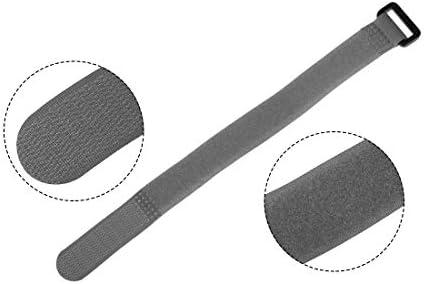 uxcell フックとループのストラップ20mm x 250mmストラップ固定 再利用可能な固定ケーブルタイ(グレー)5個