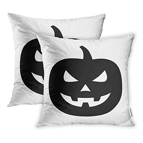 Emvency Set of 2 Throw Pillow Covers Print Polyester Zippered Jack O Lantern Halloween Carved Pumpkin Flat for Apps and Websites Pillowcase 18x18 Square Decor for Home Bed Couch Sofa