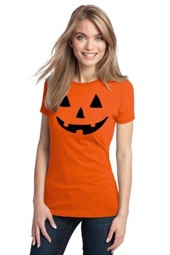 JACK O' LANTERN PUMPKIN Ladies' T-shirt / Easy Halloween Costume Fun Tee (Ladies, XS)