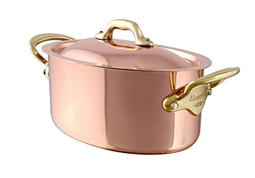 Mauviel Made In France MHeritage Copper M150B 6521.30 6.6-Quart Oval Stockpot with Lid, Bronze Handles