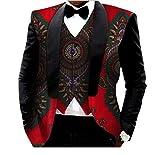 Abetteric Mens African Print Blazer 2pcs-Set Vest Vintage Retro Suit Jacket 26 5XL