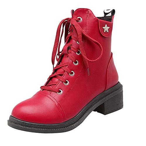Et Larges Arrondi Bout Femmes Talon Martin Hauts Alikeey Bottes Chaussures Aiguille Talons Avec Pour Rond H8n6RTCqc