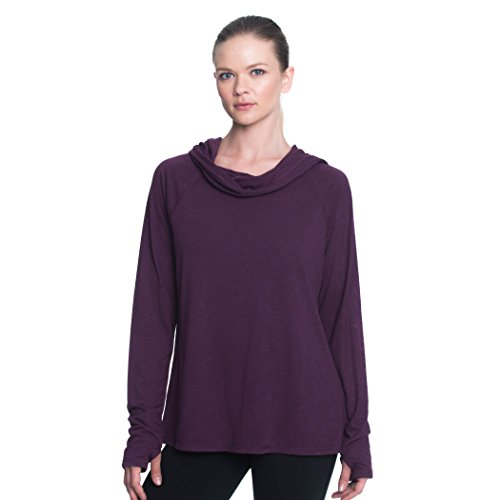 GAIAM Women's Emery Long Sleeve Cowl Neck Top - Purple, Small