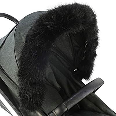 For-Your-Little-One Fur Hood Trim Pram Compatible on Formula White