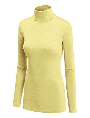 WT950 Womens Long Sleeve Turtleneck Top Pullover Sweater S Yellow